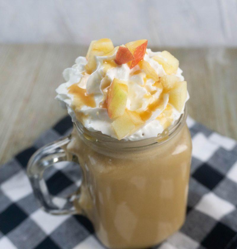 Mason Jar full of a delicious Caramel Apple Latte.