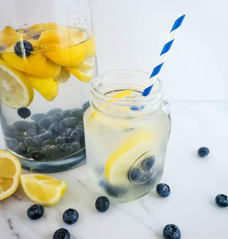 water and lemon adn blueberries